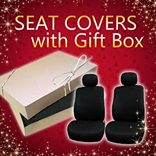 FH Group FH-FB050GIFT Flat Cloth Car Seat Covers Wrapped in Gift Box with Silover Bow on top, Solid Black