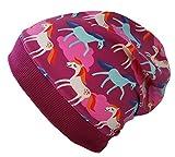 Wollhuhn Beanie-Mütze pink/Beere mit Pony-Motiv/Pferden (aus Stoffen, Bio) für Mädchen, S: KU 48/50 (ca 1-3 Jahre), pink / beere mit Pony-Motiv / Pferden / Formel 1