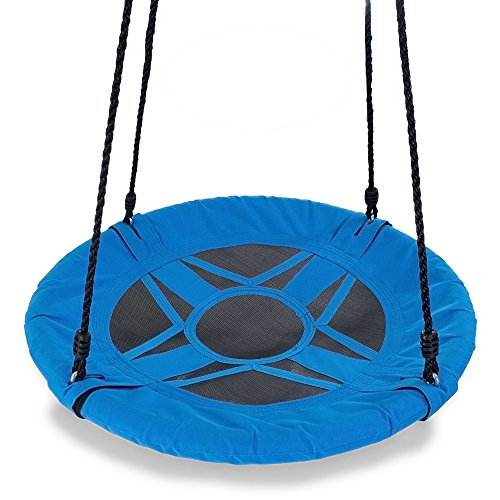 Play Platoon 30 Inch Flying Saucer Tree Swing - Blue, 400 lb Weight Capacity, Fully Assembled, Easy Setup