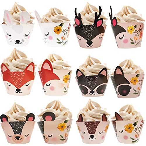 Woodland Animals Creatures Cupcake Wrappers 24 pcs for Baby Shower Decorations, Forest Friends Birthday Liners, Fox Woodsy Party, Woodland Cupcake Toppers, Gender Neutral Boy or Girl Tribal Theme