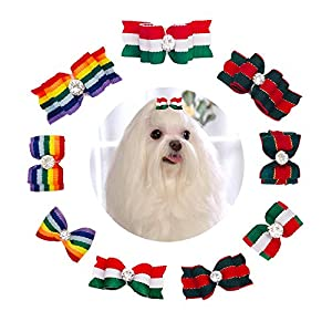 JpGdn 18Pcs/9Pairs Small Dogs Hair Bows Striped Puppy Hair Bow Ties with Rhinestone for Doggie Cat Kitten Rabbit Medium Christmas Pet Hair Flowers Bowknot Topknot Grooming Accessories Attachment
