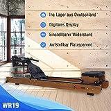 Fitifito WR19 Rudergerät Wasserrudergerät, 170kg maximales Benutzergewicht, 17l Wassertank, Widerstandseinstellung durch Wassertank-Regulierung, 120 cm Aluminiumgleitschiene, LCD-Display (Esche) - 2