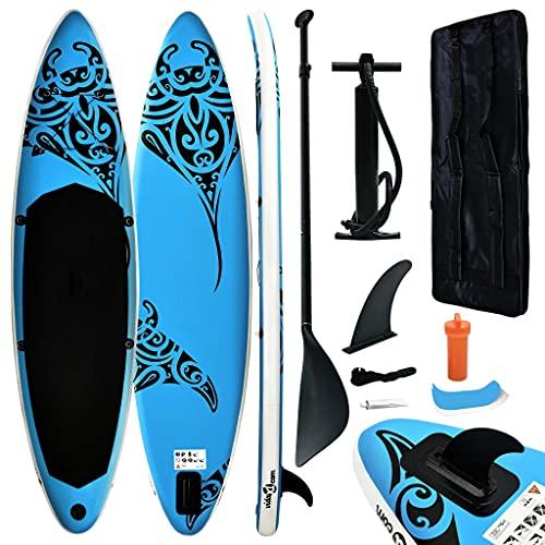 vidaXL Juego de Tabla de Paddle Surf Hinchable Inflable Portátil Deporte Viaje Piscina Lago Bomba Manual Estable Duradero Azul 305x76x15 cm