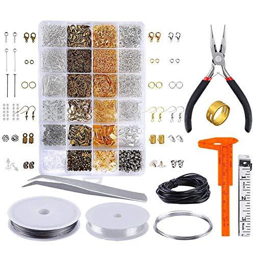 Queta Schmuckherstellung Set, Schmuck Basteln Zubehör mit Enthält Zange Schmuck Reparatur Set Ketten Band Anhänger Accessoires Kit für DIY Bastelbedarf (24 Arten)