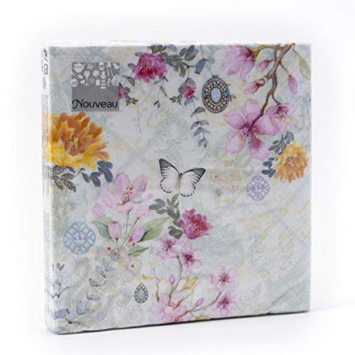 Tovaglioli di carta monouso, Nina, 20 pezzi 3 strati - 33 x 33