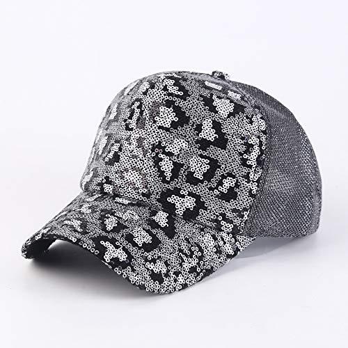 wtnhz Sonnenschutz Sonnenschutz atmungsaktive Mesh Pailletten Leopardenmuster Entenzunge Hut weibliche Sonne Sommer Baseballmütze