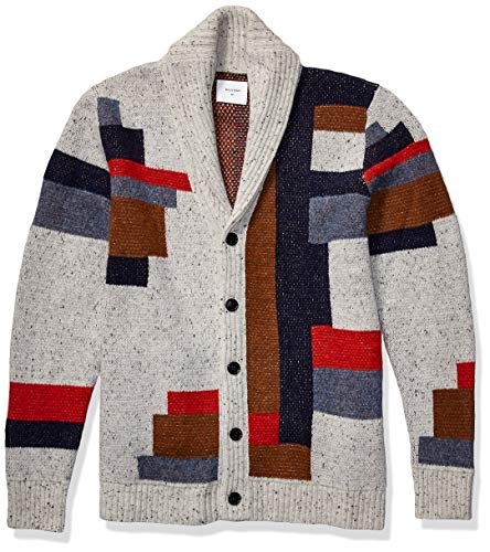 Billy Reid Men's Long Sleeve Shawl Collar Cardigan Sweater, Natural/Navy Patchwork, L