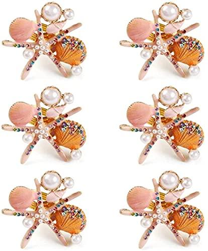 Servilleteros Anillo de servilleta de diamantes de imitación de perlas 12Pcs Anillos de servilleta de estrella de mar Soportes Hebilla de servilleta para fiesta Decoración de mesa Servilletero(Color