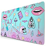 Large Gaming Mouse Pad,Girly Pastel Witch Goth Pattern Extended Ergonomic for Computers Thick Keyboard Mouse Mat Non-Slip Rubber Base Mousepad Black (75 X 40cm)