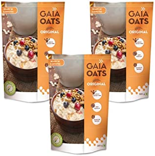 GAIA Oats Original high in Dietary Fiber & Protein, Zero Trans Fat 500 gm Each (Pack of 3, 500 gm Each)