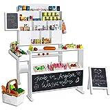 SUN Kaufmannsladen mit Tafel und Kundenstopper aus Holz Weiß (Version 2)