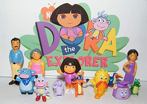 world toys brand Dora The Explorer Nickelodeon Deluxe Figure Set Toy Playset of 12 with Dora, Boots, Tico, Troll, Parents, Grandma Free Stickers