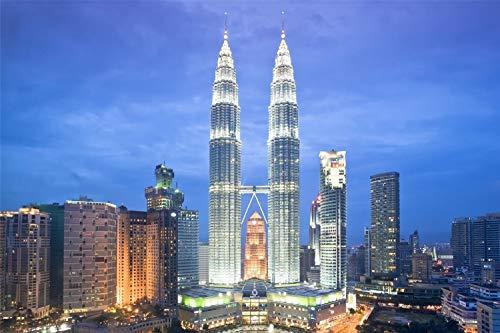 Rompecabezas Para Adultos 1000 Piezas 3D Torres Petronas Kuala Lumpur De Madera Montaje Personalizado