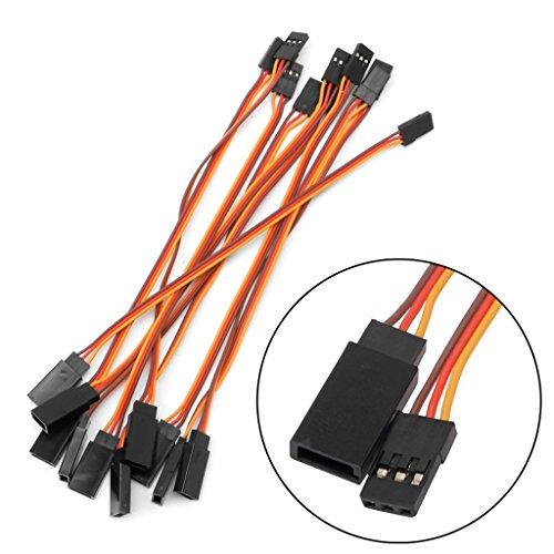 JENOR Lot de 10 câbles de rallonge pour servo RC Futaba JR 15 cm mâle vers femelle (500)