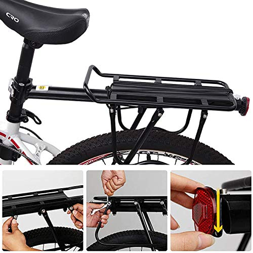 DHOUTDOORS Alloy Bike Cargo Racks Bicycle Rear Pannier Rack Mountain Carrier Rear Rack Seat Load 25Kg Luggage Bags for Cycling Camping Sport Black