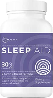 Life Renew: Sleep Aid - Dietary Supplement for Better Sleep - 30 Capsules - Works Fast - Gentle All-Natural Herbal and Vit...
