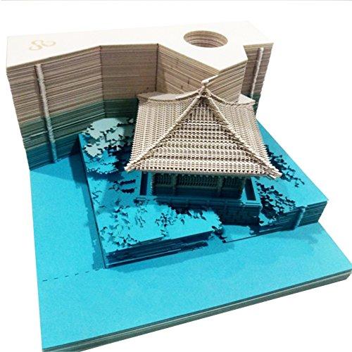 DIY Papier Kunst Baustein 3D Stick Notizblöcke Notizen Aufkleber Papiere Karte Handwerk Kreative Post Notizen Papier Kunsthandwerk(House Blue)