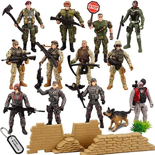 JOYIN Juego de 16 piezas de soldados de juguete militar, figuras de hombres del ejército con 12...