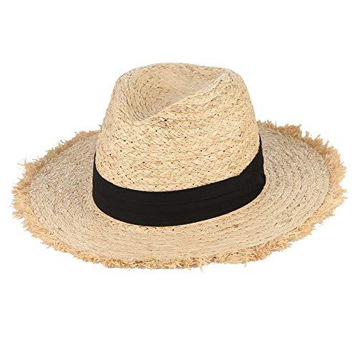 Cappelli Cappello da Sole Cappelli Estivi per Donna Frangia Nappa Cappello di Paglia Rafia con Nastro Nero Pieghevole Tesa Larga Cappello da Sole Uomo Cappello da Spiaggia Panama