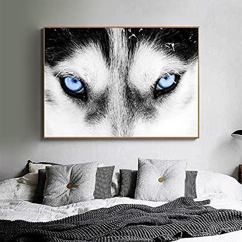Puzzle 1000 piezas Ojos azules cabeza de lobo animal minimalismo arte pintura nórdico imagen creativa moderna puzzle 1000 piezas Rompecabezas de juguete de descompresión intel50x75cm(20x30inch)