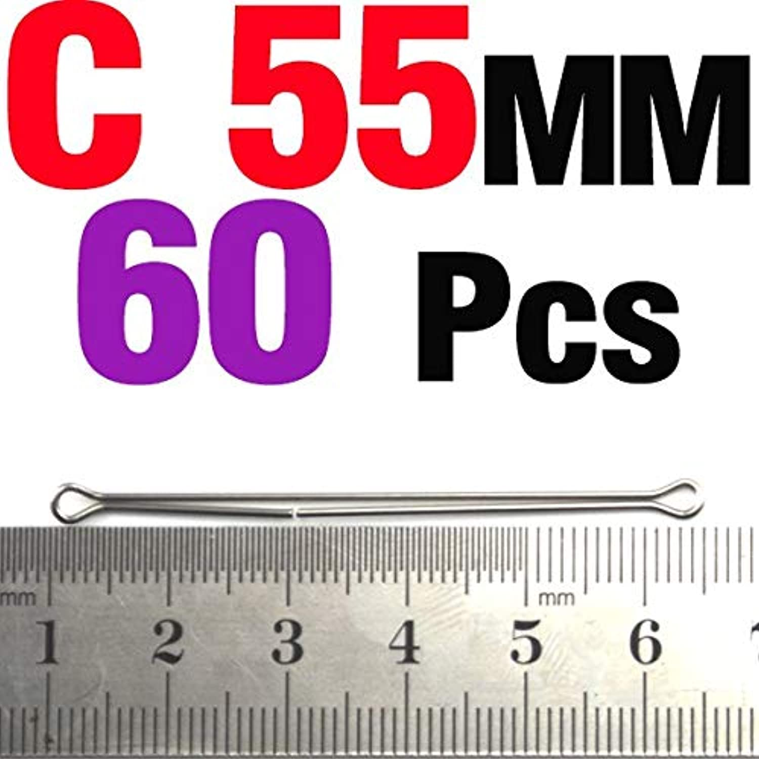Generic MNFT 60PCS Double Eye Wire Articulated Shanks Fly Tying Material 3 Styles 15 20 25 35 45 55mm Optional 60Pcs C 55mm