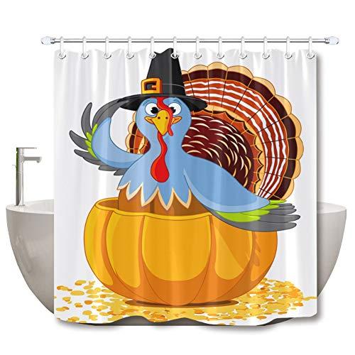 WSJKHY oogstfeest Turkije met pilger hoed wit douchegordijn mat set extra lange waterdichte badkamer stof voor kunst badkuip decoratie Curtain 3-180 x 180 cm.