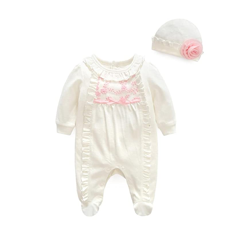 FEITONG Newborn Infant Baby Girls Outfits Clothes,2Pcs Footies Jumpsuit+Hat Set (3Month, White)