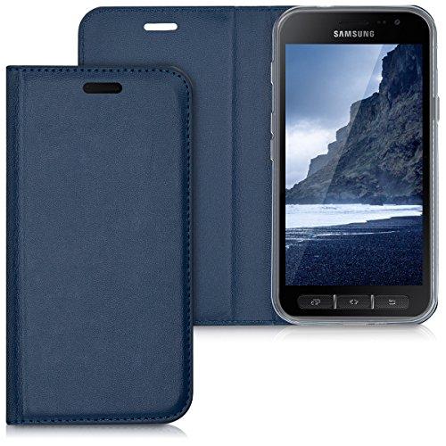 kwmobile Hülle kompatibel mit Samsung Galaxy Xcover 4 / 4S - Kunstleder Handy Schutzhülle - Flip Cover Hülle Dunkelblau