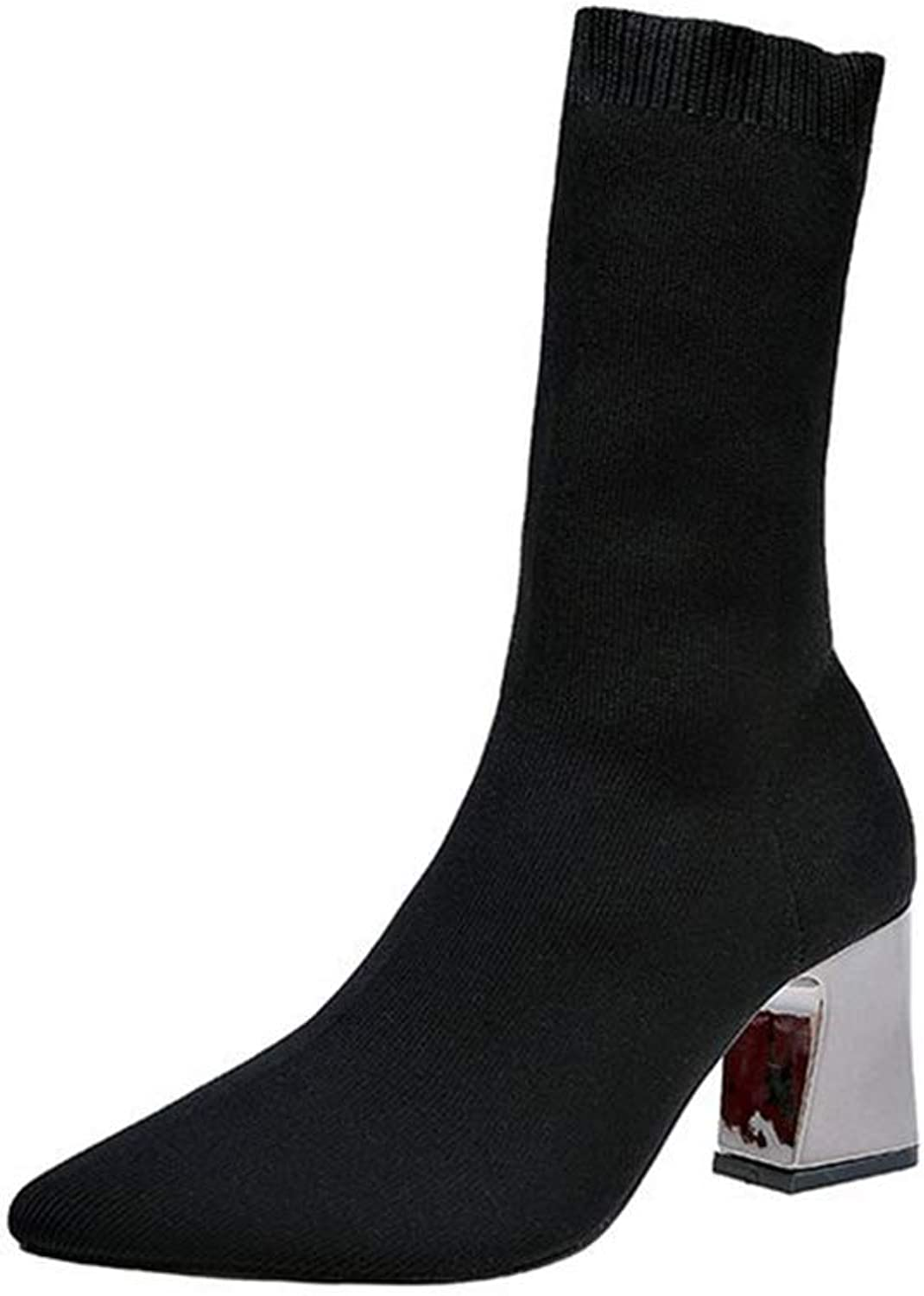 K389diir3xoxo Martin Boots Thick with Women's Boots Skinny Legs Black Wool Tube Elastic Boots