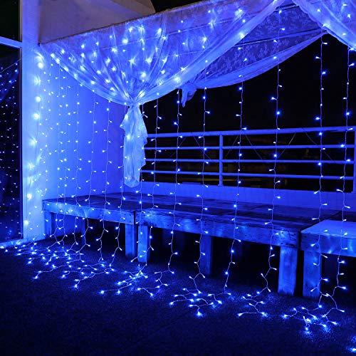 Tenda Luminosa Led 3x3㎡, Luci di Natale Interno Esterno Impermeabilità IP44 con 300 Led, 8 Modalità di Illuminazione per Natale, Interno, Camera da Letto, Giardino, Blu