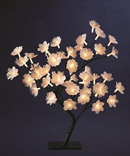 DECO NOËL - Arbre fleur lumineux en fibre optique 48 LED blanc chaud - Hauteur 50 cm
