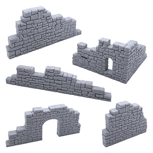 EnderToys Juego de paredes de piedra en ruinas B, paisaje de terreno para mesa de 28 mm, miniaturas Wargame, impreso en 3D y pintable
