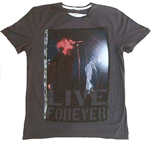 Amplified Herren T-Shirt Grau Charcoal Anthrazit Official Oasis Merchandise Live Forever Rock Star Club Vintage VIP Rockstar Design (M)
