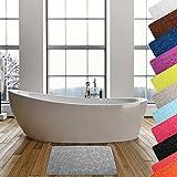 MSV Badteppich Badvorleger Duschvorleger Kieselstein Badematte waschbar, schnelltrocknend, rutschfest 40x60 cm – Grau