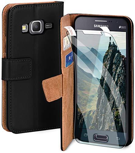 moex Handyhülle für Samsung Galaxy Grand Prime - Hülle mit Kartenfach, Geldfach & Ständer, Klapphülle, PU Leder Book Hülle & Schutzfolie - Schwarz
