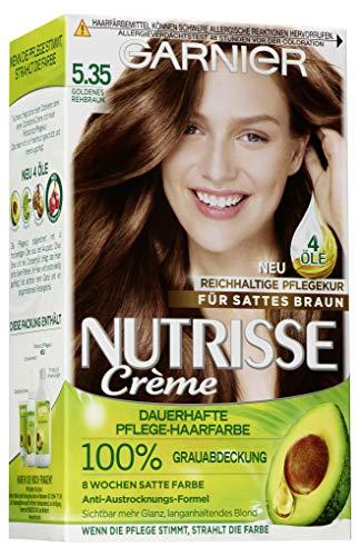 Garnier Nutrisse Creme Coloration Goldenes Rehbraun 5.35 / Färbung für Haare für permanente Haarfarbe (mit 3 nährenden Ölen) - 1 Stück