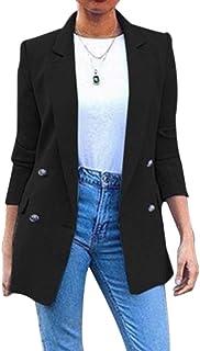Shujin Women's Blazer Slim Fit Buttoned Elegant Jacket for Business Office Suit Long Sleeve Chic Business Suit Jacket Soli...