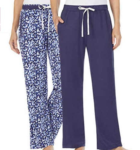 DKNY Women's 'Brushed Jersey Pant with Pockets, 2-Pack, Navy, Large