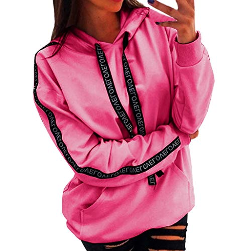 Xinantime Womens Hoodies Plus Size Blouse Long Sleeve Solid Sweatshirt Hooded Pullover Tops Shirt(Hot Pink,XXXXXL)