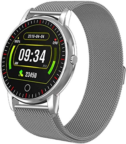 JSL Reloj inteligente con monitor de ritmo cardíaco, monitor de presión arterial IP67, resistente al agua, con monitor de sueño, contador de calorías, podómetro para Android iOS, plateado