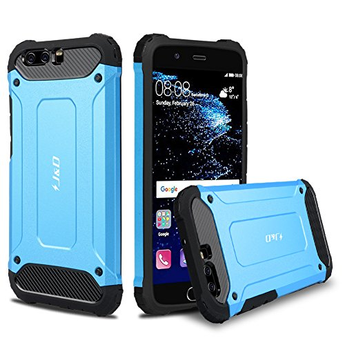 JundD Kompatibel für Huawei P10 Hülle, [ArmorBox] [Doppelschicht] [Heavy-Duty-Schutz] Hybrid Stoßfest Schutzhülle für Huawei P10 - [Nicht kompatibel mit Huawei P10 Plus] - Blau