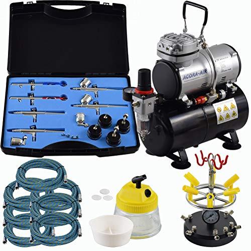 Agora-Tec® Airbrush Komplett-Set PROFI XXV.1, Komplettsystem für Airbrushanwendungen, inkl. Kompressor mit 4 bar und 20l/min und 3 Liter Tank + 6 Airbrushpistolen mit 4 versch. Nadeln/Düsen + 8-fach Pistolenhalter + Clean Pot + 7 Schläuche