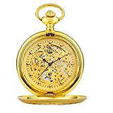 Jue Reloj de bolsillo - Tallado Gráfico cielo abierto del clásico reloj de bolsillo de pared de la vendimia suerte reloj de bolsillo clásico Steampunk reloj mecánico correa de cadena Reloj de los homb