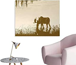 Tudouhoho Animal Poster Paper Silhouette of Elk Drinking Water in Lake River Forest Wildlife Scenery Illustration Corridor/Indoor/Living Room Cream Sepia W48 xL32
