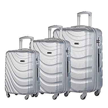 3 PC Luggage Set Durable Lightweight Hard Case pinner Suitecase LUG3 LY43 SILVER