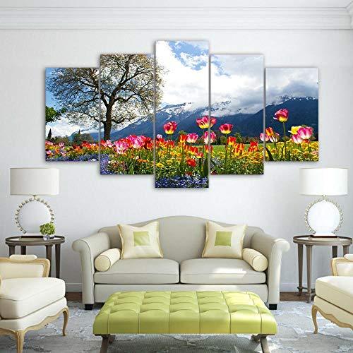 YOPLLL Lienzo 5 Piezas Moderno Cuadro En Lienzo 5 Piezas Salón De Hogardecoracion De Pared Paisaje Flores Primavera Jardín(Enmarcado)