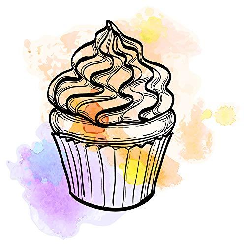 dekodino® Wandtattoo Aquarell Cupcake bunt Küchendeko Wandsticker