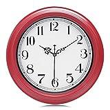 Lafocuse Reloj de Pared Rojo Cereza Vintage Silencioso Reloj de Cuarzo Decorativo Redondo para Cocina Salon Comedor 30cm