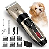 Yabife Dog Clippers, USB Rechargeable Cordless Dog Grooming Kit, Electric Pets Hair Trimmers Shaver Shears for Dogs and Cats, Quiet, Washable, with LED Display