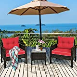 Tangkula 3 Piece Outdoor Patio Furniture Set, Wicker Chairs Set with Glass Top Coffee Table, Thick Cushions, All Weather Garden Lawn Poolside Backyard Porch Furniture Set for 2 (Red)
